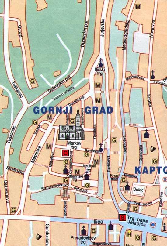 Zagreb - City Centre Map on